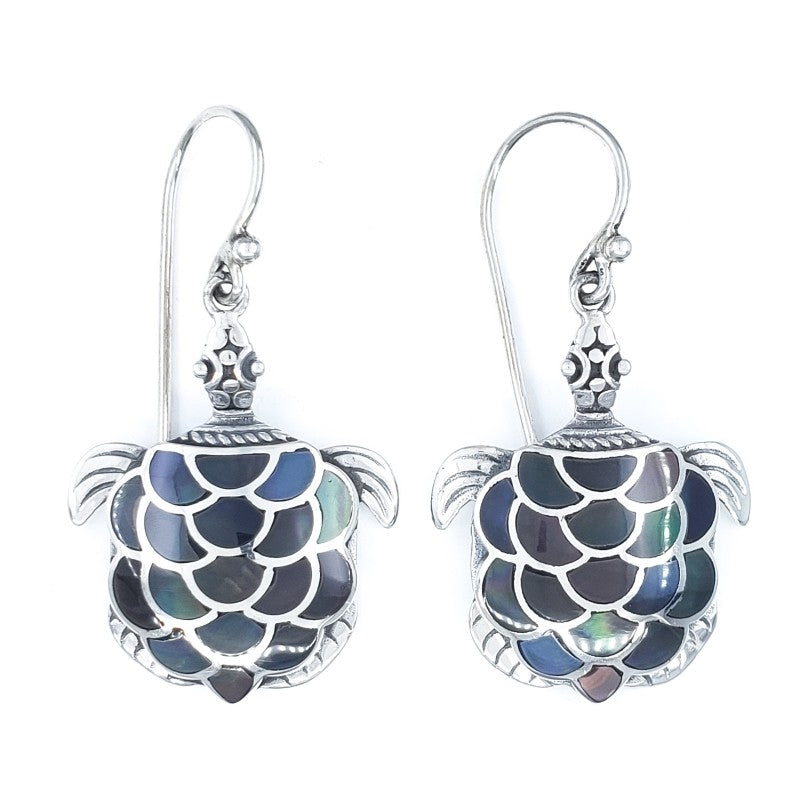 Fancy Turtle Earrings with Black Mother of Pearl
