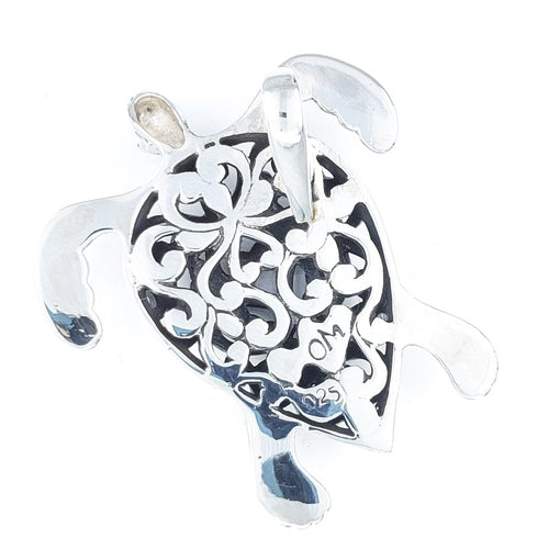 Filigreed Silver Turtle Pendant