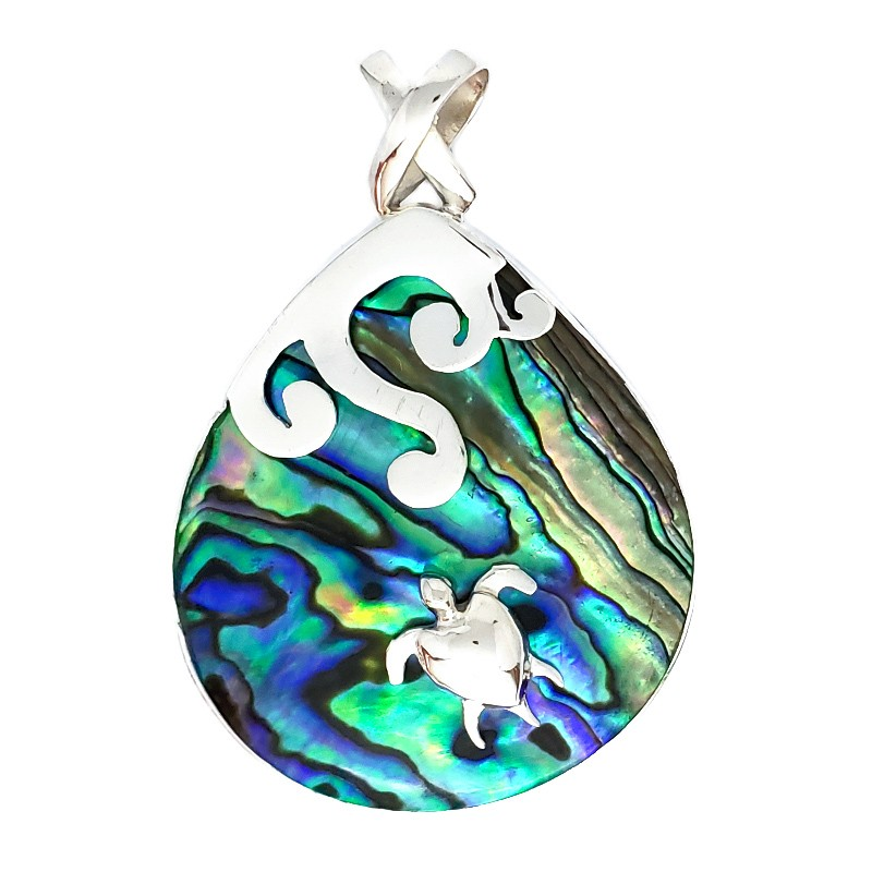 Large Abalone Droplet Pendant with Turtle