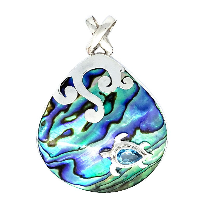 Large Abalone Droplet Pendant with Turtle & Blue Topaz
