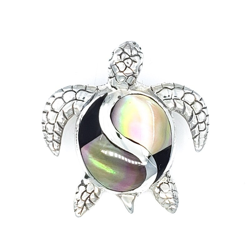 Petroglyph Sterling Silver Turtle Pendant with Sunset Shell