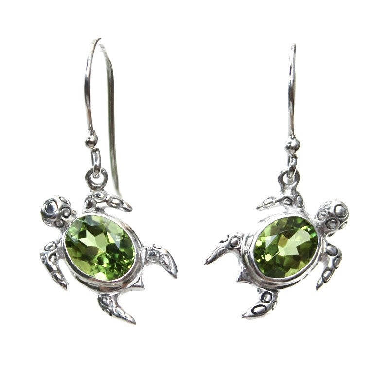 Filigreed Peridot Turtle Earrings