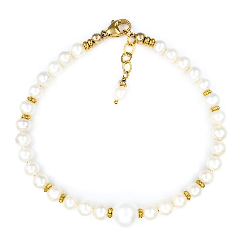 White Freshwater Pearls Bracelet with Gold Beads