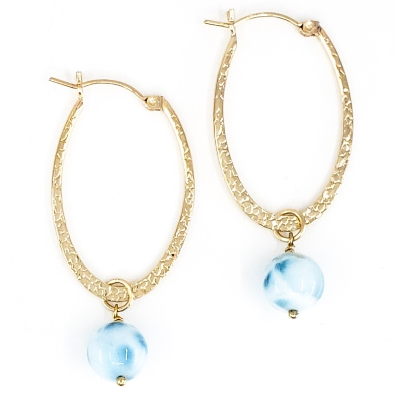 Oval Gold Hoop Earrings with Larimar