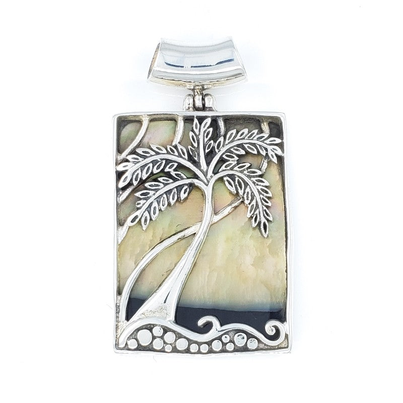 Rectangular Palm Tree Pendant with Sunset Shell