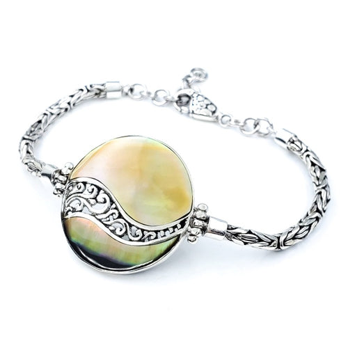 Round Sunset Shell Bracelet with Filigreed Sterling Silver Waves