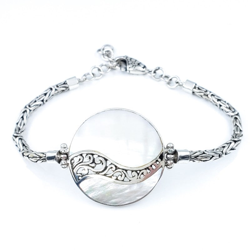 Round White Mother of Pearl Bracelet with Filigreed Sterling Silver Waves