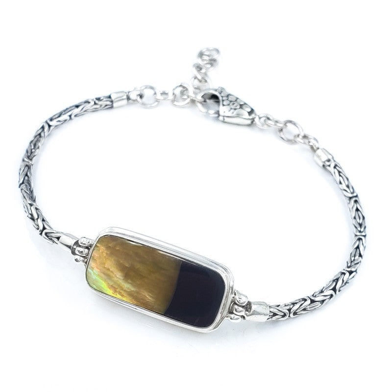 Rectangular Sunset Shell Bracelet with Handmade Byzantine Chain