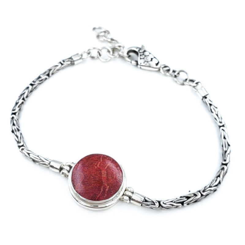 Round Red Coral Bracelet