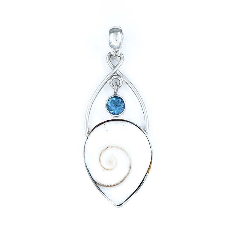 Cat's Eye Shell Pendant with Blue Topaz