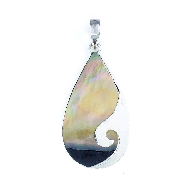 Droplet Pendant with Sunset Shell and Delicate Silver Wave