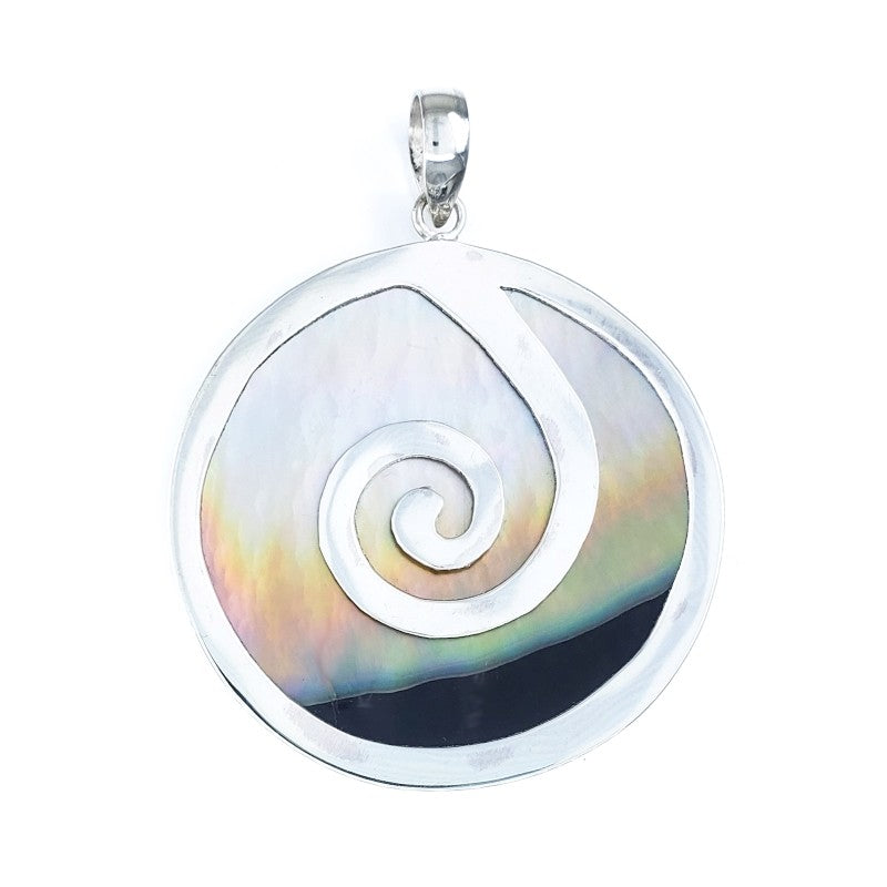 Round Sunset Shell Pendant with Silver Wave
