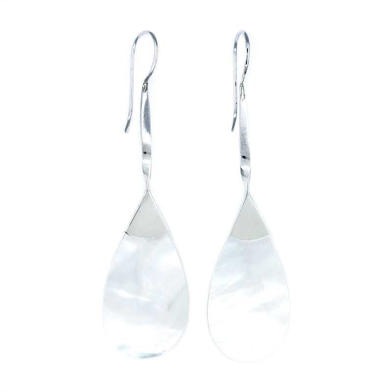 Long White Mother of Pearl Earrings