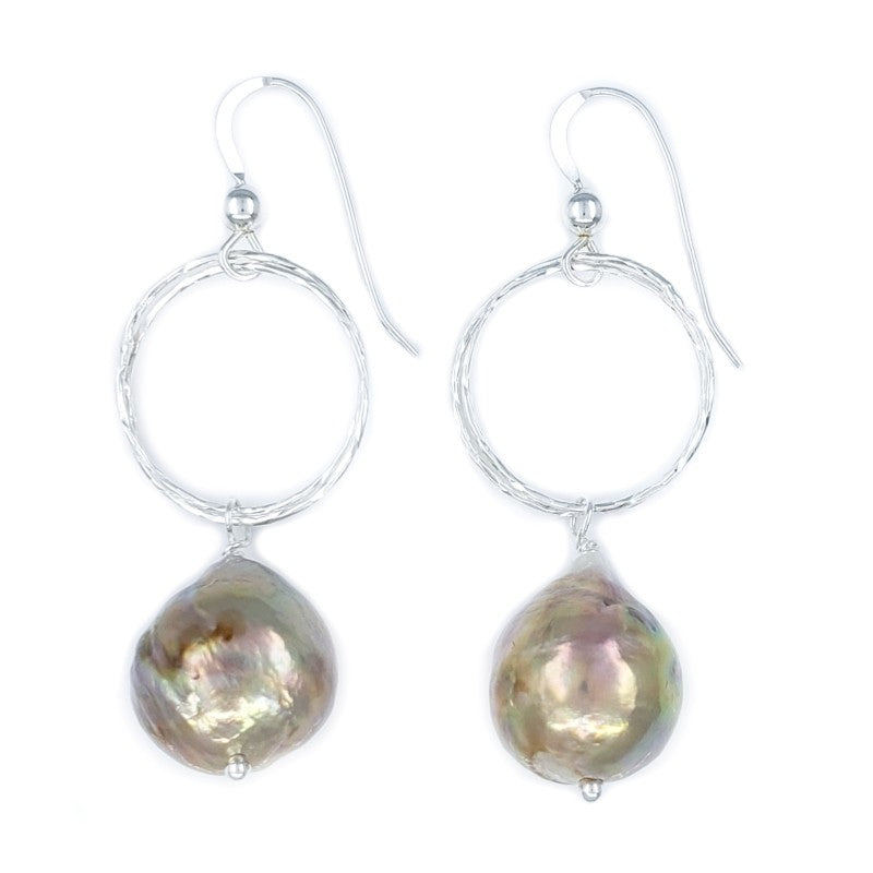 10mm Pink Fireball Pearl & Sterling Silver Earrings