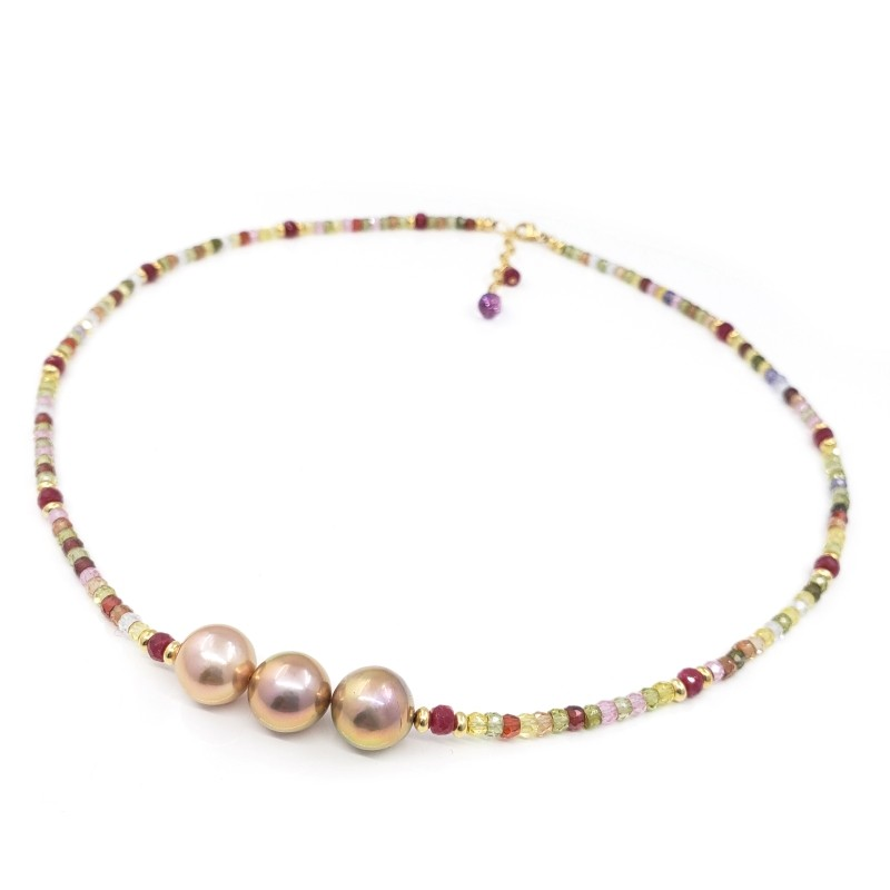 Multi Gemstones Necklace with 3 Pink Edison Pearls