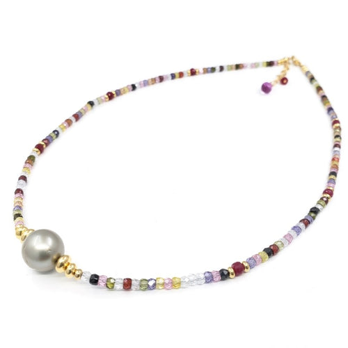Multi Gemstones Necklace with 12mm Tahitian Pearl