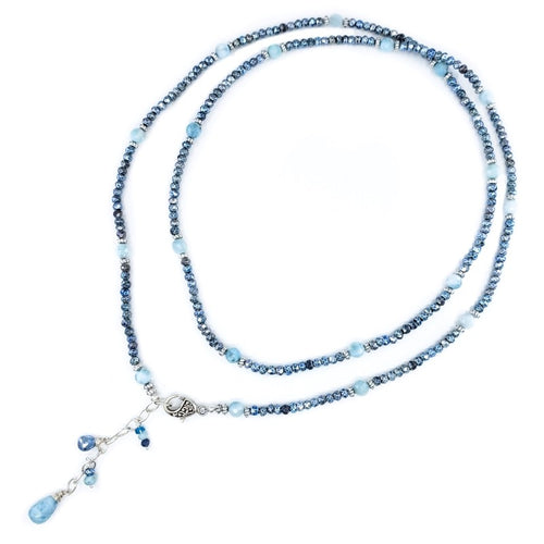 Long Blue Hematite Necklace with Larimar
