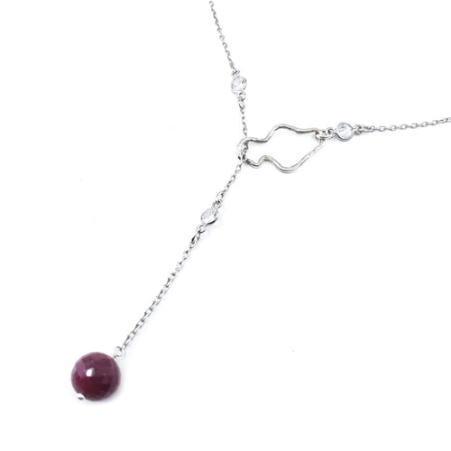 Sterling Silver Maui Lariat Necklace with Faceted Ruby Bead
