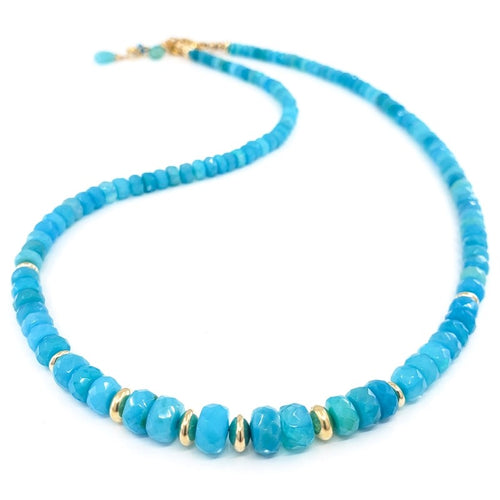 Blue Opal Necklace with Gold Beads