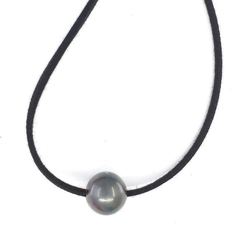 12mm Single Tahitian Pearl Leather Necklace