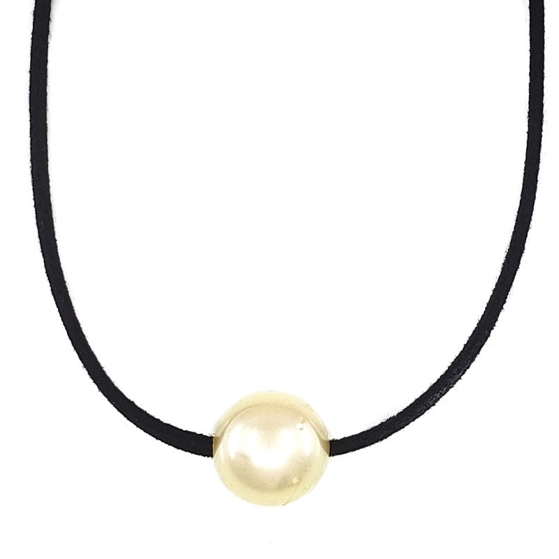 12mm Single Golden South Sea Pearl Leather Necklace