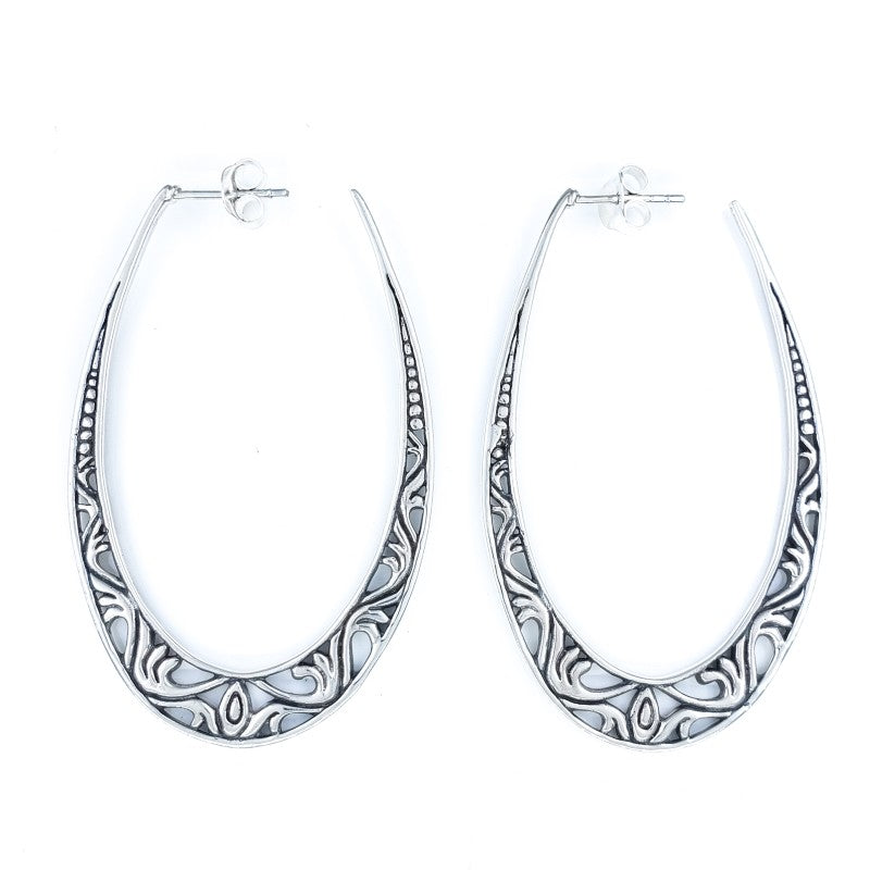 Large Oval Filigreed Silver Hoop Earrings