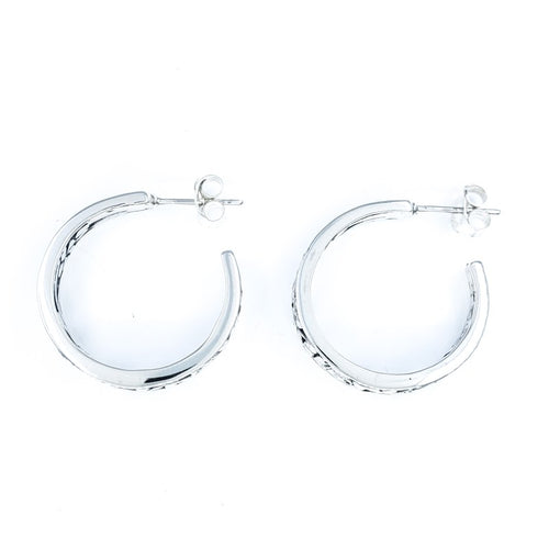 Medium Filigreed Silver Hoop Earrings with Plumeria