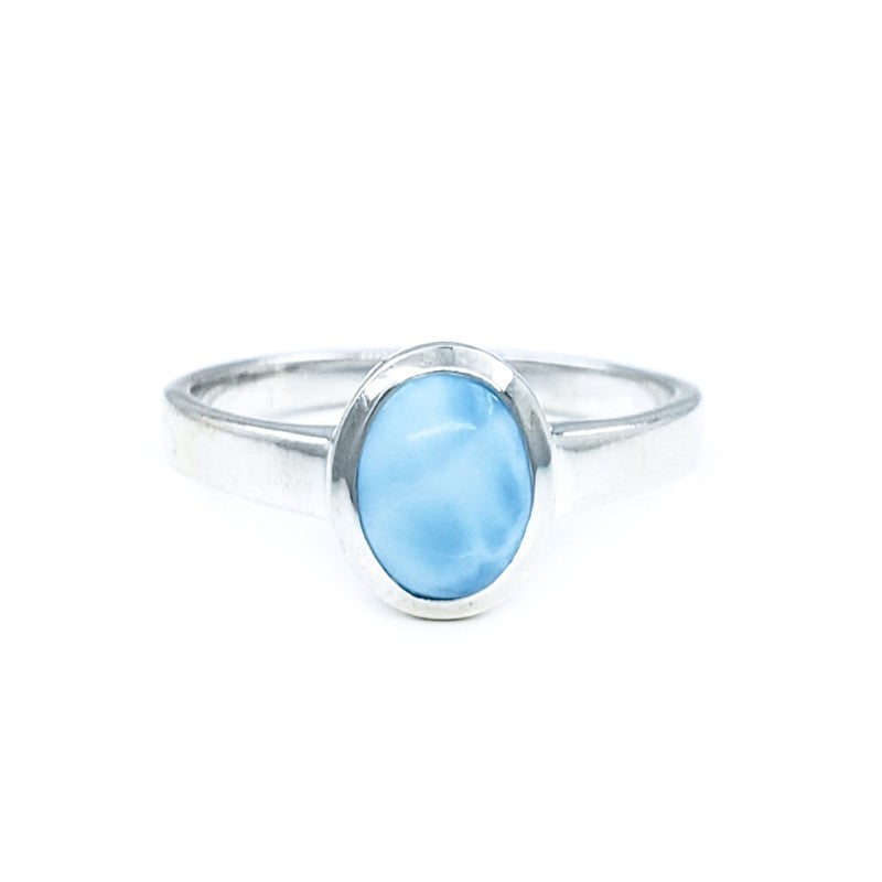 Small Oval Larimar Sterling Silver Ring