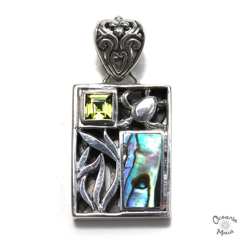 Fancy Rectangular Turtle Pendant with Abalone and Peridot