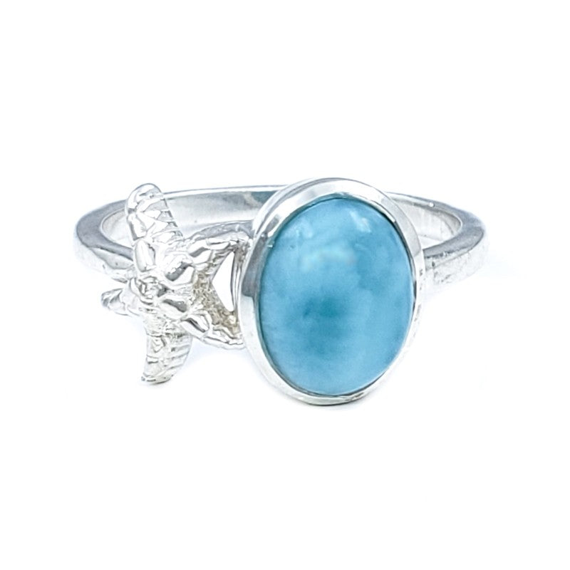 Oval Larimar Sterling Silver Starfish Ring