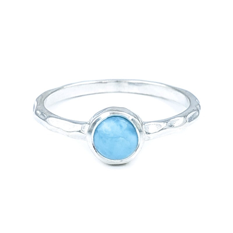 Small Hammered Sterling Silver Ring with Larimar