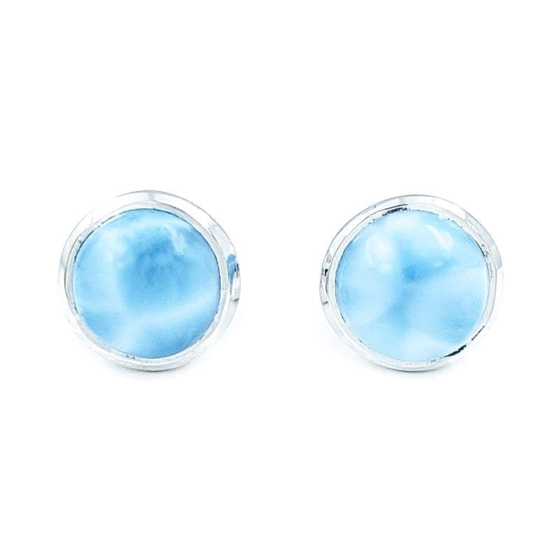 Round Larimar Sterling Silver Stud Earrings