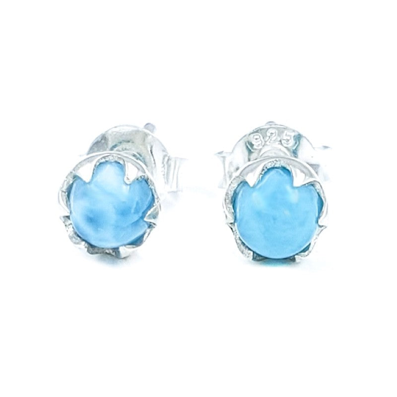 Small Round Larimar Sterling Silver Stud Earrings