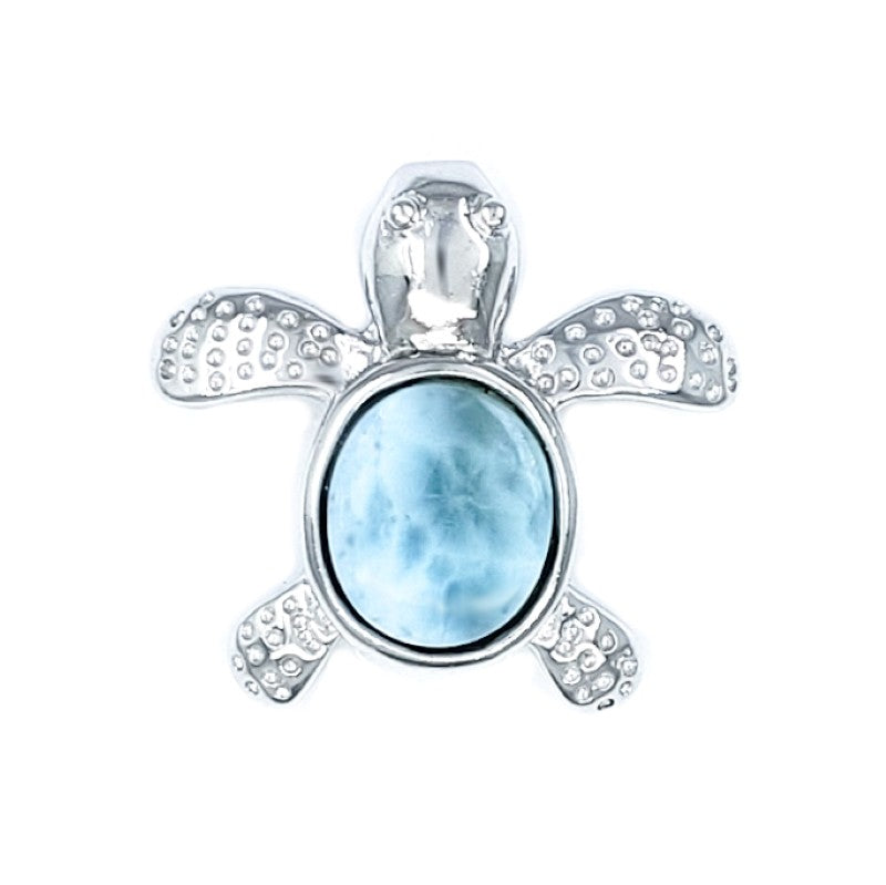 Small Sterling Silver Turtle Pendant with Larimar