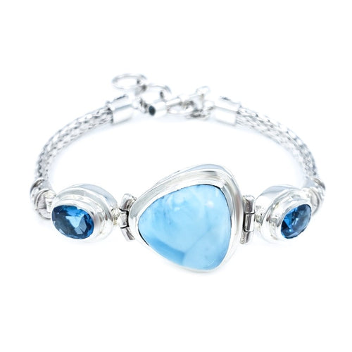 Handwoven Sterling Silver Bracelet with Larimar & Blue Topaz