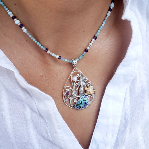 Sealife Gemstones Necklace with Mermaid and Turtle