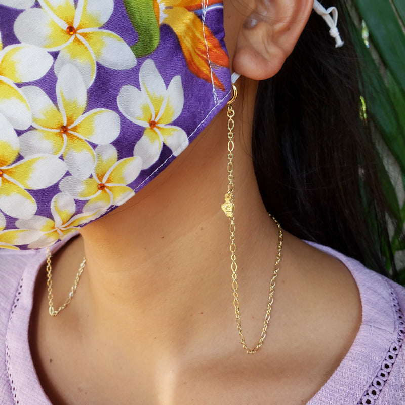 Peace of Mind Gold Mask Chain with Maui Charm