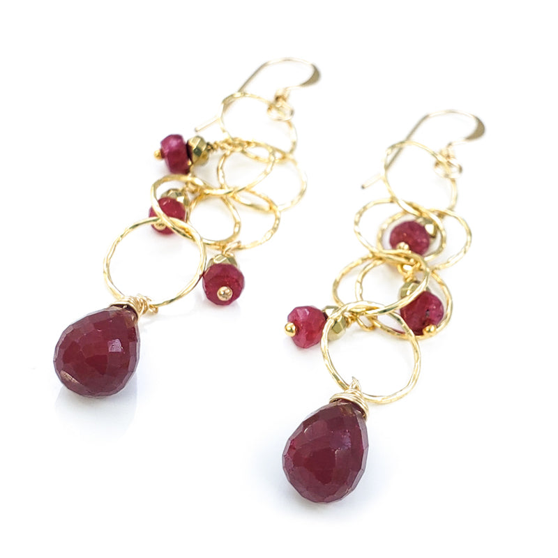 Long Dangly Gold Earrings with Rubies