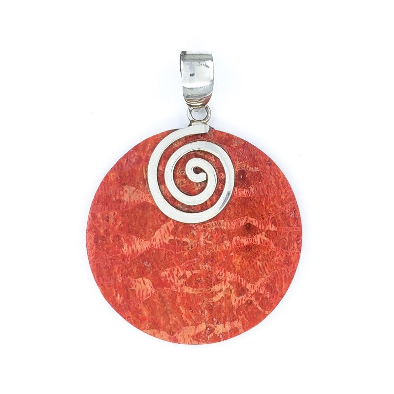 Round Red Coral Pendant with Silver Swirl