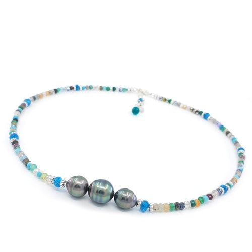 Multi Gemstones Necklace with 3 Tahitian Pearls
