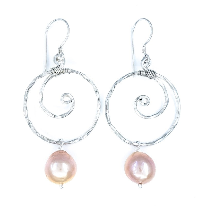 Hammered Sterling Silver Wave Earrings with Pink Edison Pearls