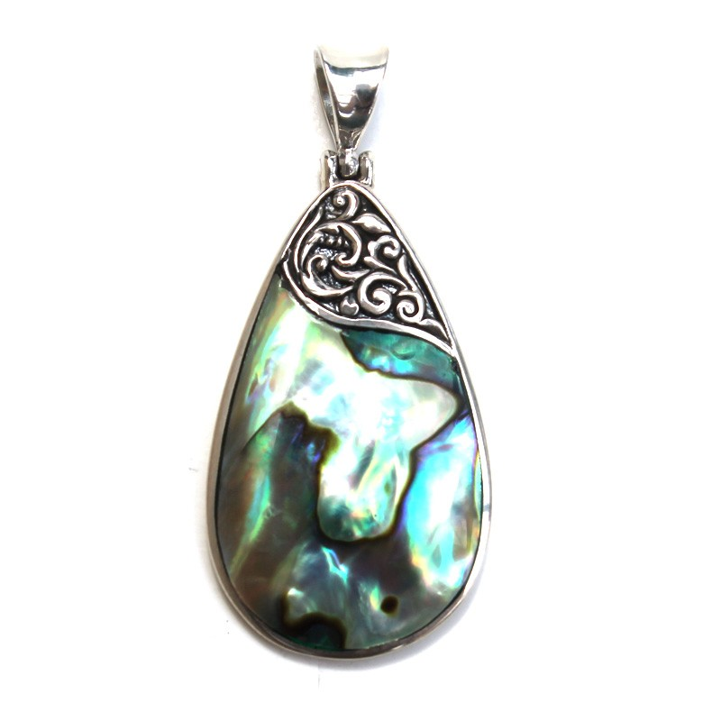 Medium Abalone Droplet Pendant with Filigree