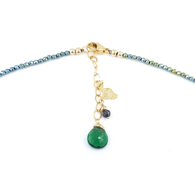 Green Hematite Necklace with 10mm White Freshwater Pearl