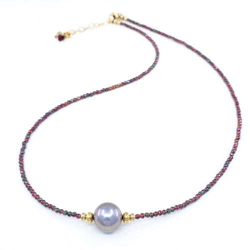 Red Hematite Necklace with 10mm Freshwater Pearl