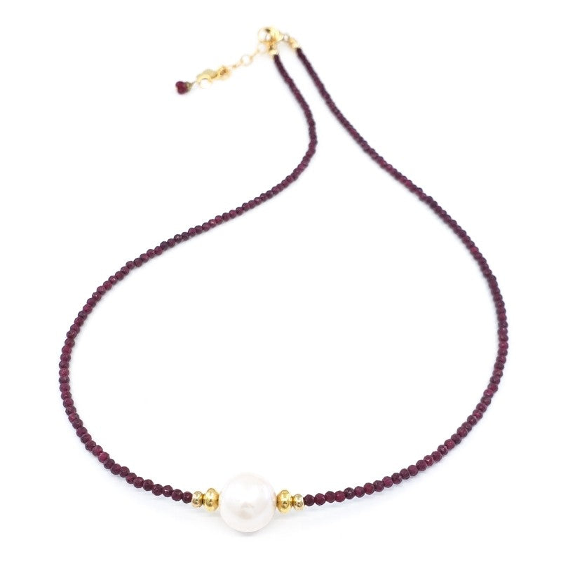 Rubies Necklace with 10mm White Freshwater Pearl