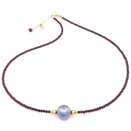 Rubies Necklace with 10mm Pink Freshwater Pearl