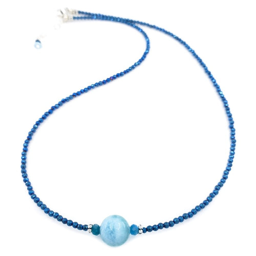 Blue Hematite Necklace with 10mm Larimar Bead and Apatite