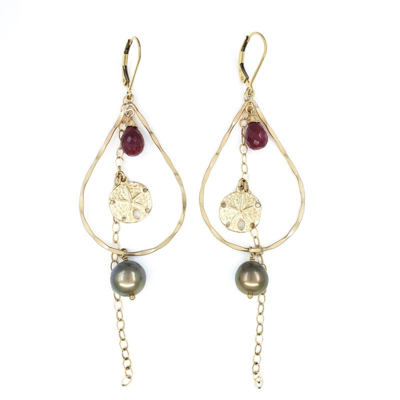 Long Tahitian Pearl Earrings with Rubies and Sand Dollar