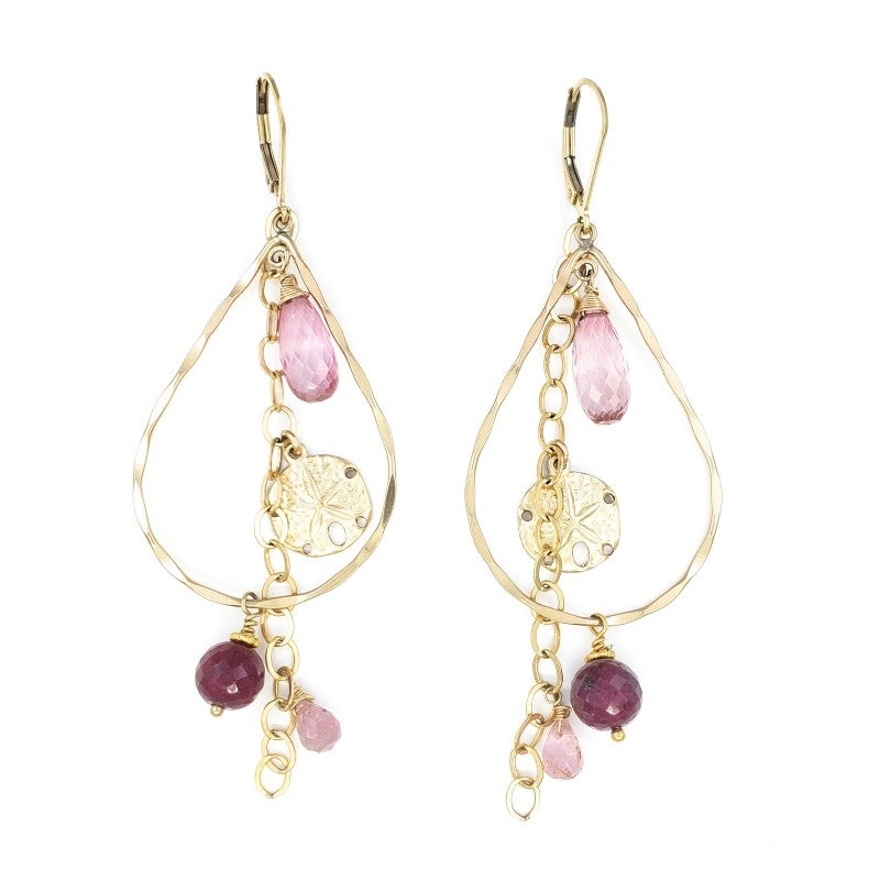 Long Gold Earrings with Rubies, Pink Quartz and Sand Dollar