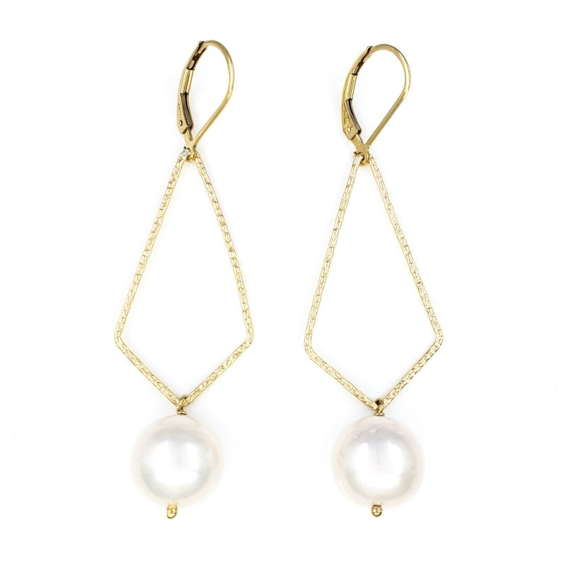 Long Dangly Gold Earrings with 12mm White Edison Pearls